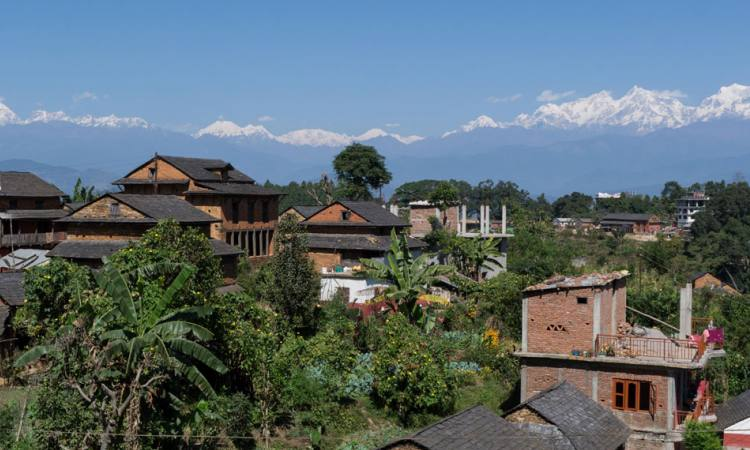 Bandipur Village with Mountain Range