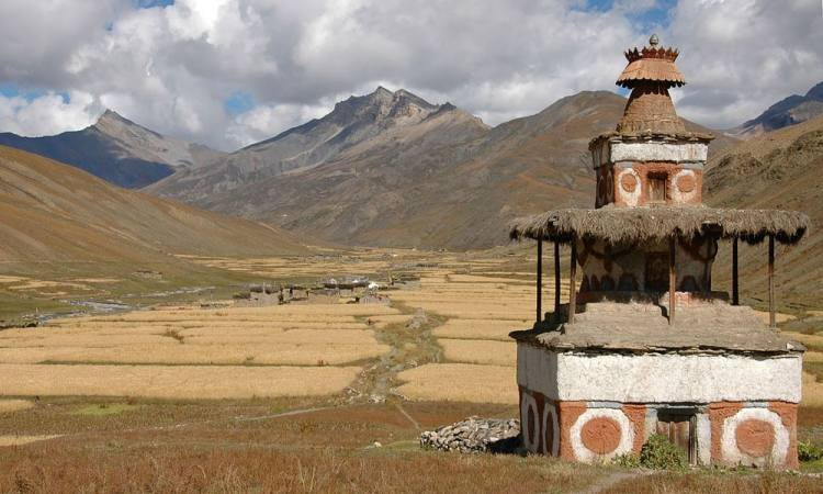 Dolpo Region-Scenery of Barflies and the Buddhist Chortain