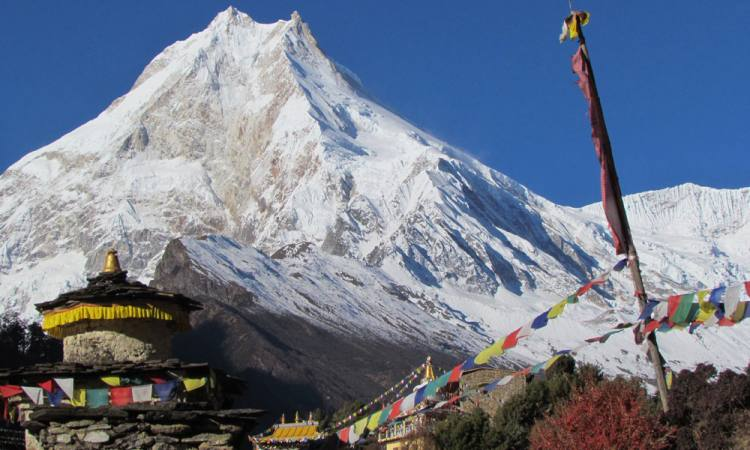 Range of Manaslu Region Trek view from Lho village
